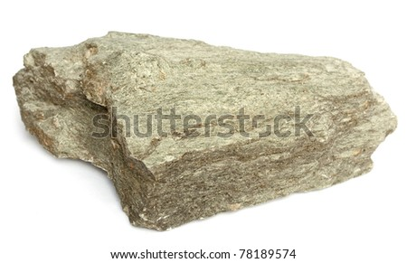 Rock sample of high grade regional metamorphic greenschist - stock photo