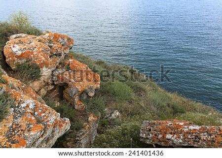 rock sea cliff rocks - stock photo