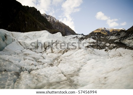 Rock, snow and ice on a glacier