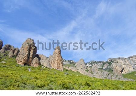 Rock spires known as Mallos de Riglos, Huesca, Aragon, Spain - stock photo