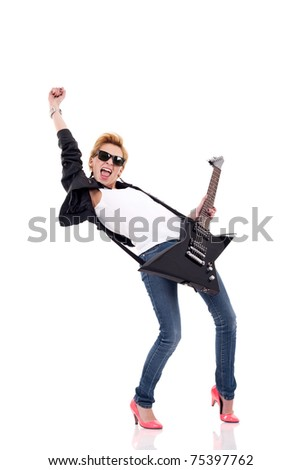 Rock star girl with sunglasses playing an electric guitar - stock photo