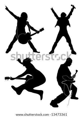 Rock Star silhouettes (singer, guitarists) - stock photo
