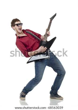 Rock star with a guitar screaming isolated over white background