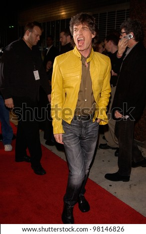 Rock superstar MICK JAGGER arriving at the El Rey Theatre in Los Angeles where he was performing to promote his new solo album Goddess in the Doorway. 15NOV2001.   Paul Smith/Featureflash - stock photo