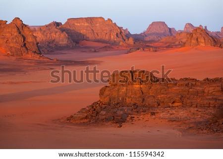 Rock weathering in the desert - stock photo