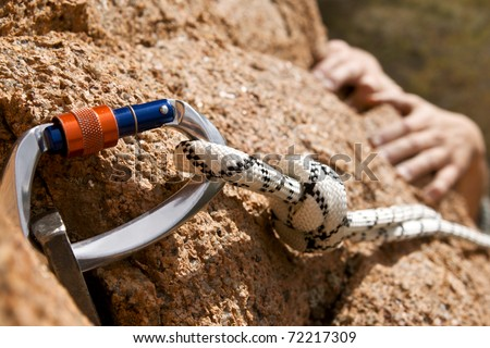 Rockclimber's hands - stock photo