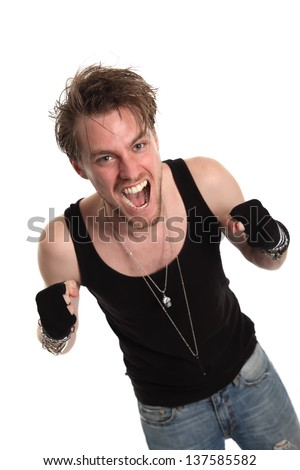 Rocker dude with raised fists. White background. - stock photo