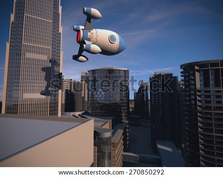 Rocket flying over the city - stock photo