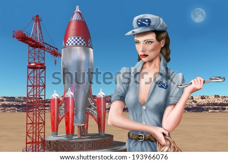 Rocket scientist standing by her retro space rocket - stock photo