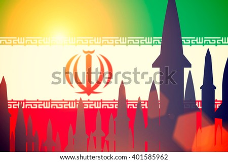 Rockets silhouettes background Iran flag. Toned - stock photo