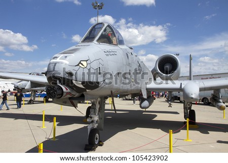 ROCKFORD, IL - JUNE 3: Fairchild Republic A-10 Thunderbolt airplane on display at the annual Rockford Airfest on June 3, 2012 in Rockford, IL - stock photo