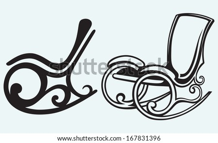 Rocking chair isolated on blue background. Raster version - stock photo