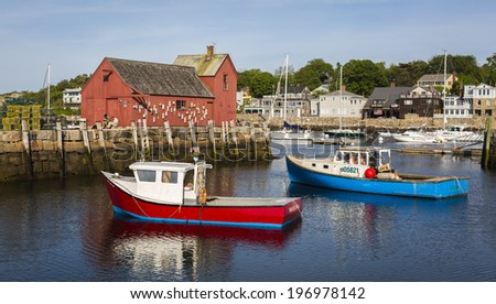 ROCKPORT, USA - JUNE 1:  View of the red fisherman shack which is a landmark and sightseeing of Rockport, a fisherman village, in Massachusetts, USA photographed on June 1, 2014.