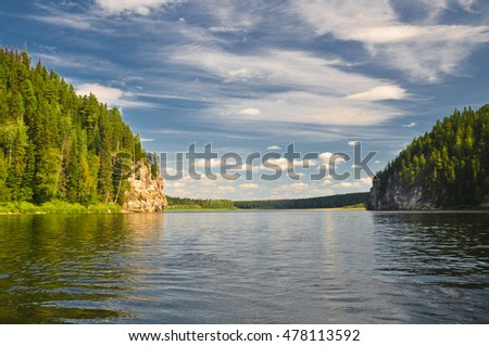 Rocks along the river banks. National Park Yugid-VA in the Northern Urals. The UNESCO site Virgin Komi forests.