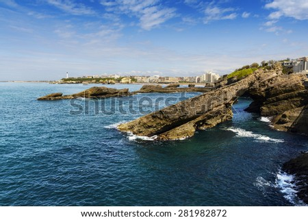 Rocks and lighthouse of Biarritz, France - stock photo