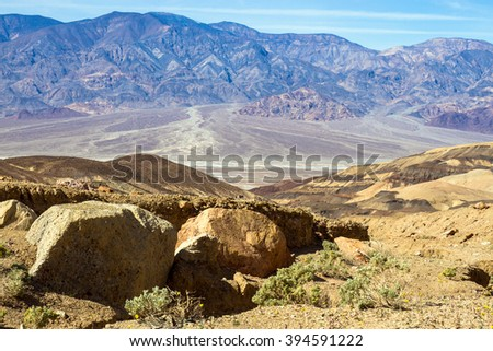 Rocks and long views in Death Valley National Park - stock photo