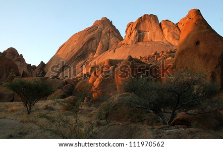 Rocks and Mountains at Spitzkoppe, Namibia, Southern Africa. Taken at sunset.