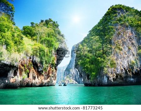 rocks and sea in Krabi Thsiland - stock photo