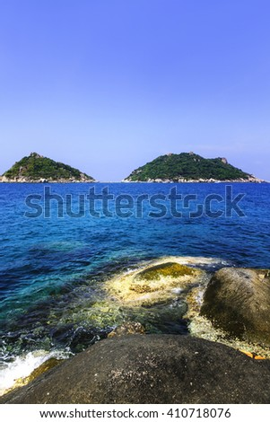 rocks and sea of the Island in southern Thailand, Koh Tao, Chumphon.