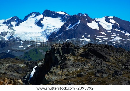 Rocks and snow peaks of Blackcomb Mountains. More with keyword group14l  - stock photo