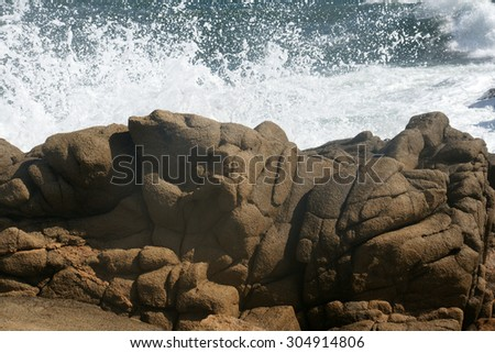 rocks and waves 4 - stock photo