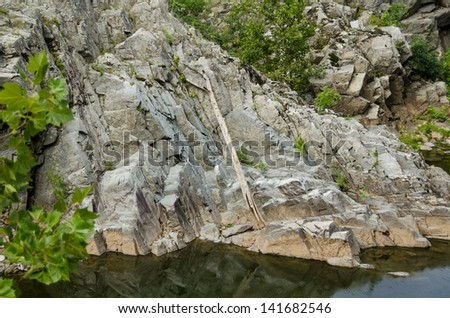 Rocks around Great Falls National Park in Virginia - stock photo