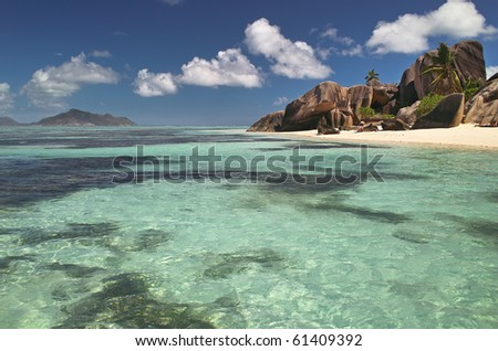 Rocks at tropical beach in Seychelles