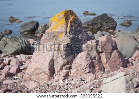 Rocks by the ocean - stock photo