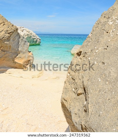 rocks in Cala Mariolu shore. Shot in Sardinia, Italy - stock photo