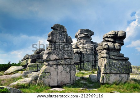 Rocks in Krkonose called Female Stones - stock photo