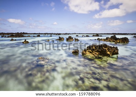 Rocks in Orzola beach in Lanzarote (Spain) - stock photo
