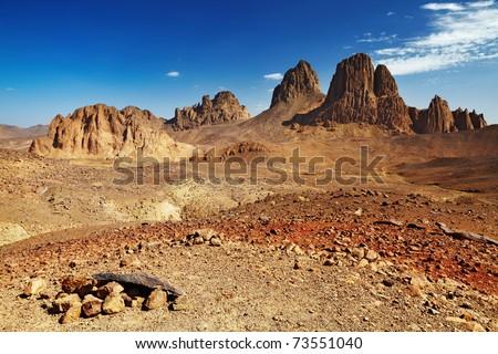 Rocks in Sahara Desert, Hogar mountains, Algeria - stock photo