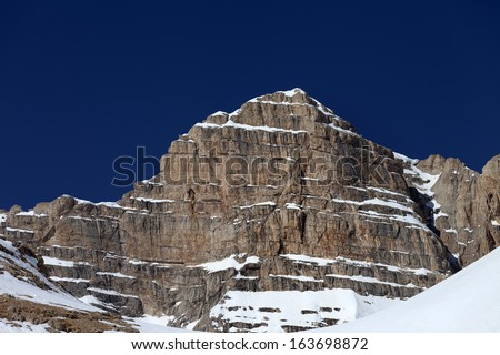 Rocks in snow and blue clear sky. Turkey, Central Taurus Mountains, Aladaglar (Anti-Taurus), view from plateau Edigel (Yedi Goller)  - stock photo