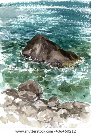 rocks in the sea shore and waves, ocean water drawing in watercolor, hand painting illustration