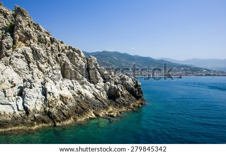 Rocks in Turkey view from the sea ,views of the cliffs from the sea  - stock photo
