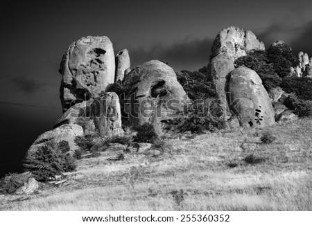 Rocks. (Infrared photo). - stock photo