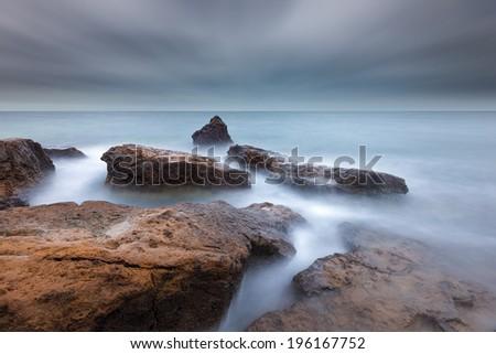 Rocks of Half Moon Bay - stock photo