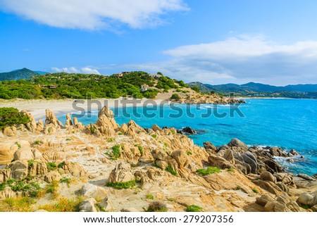 Rocks on beautiful Villasimius beach, Sardinia island, Italy - stock photo