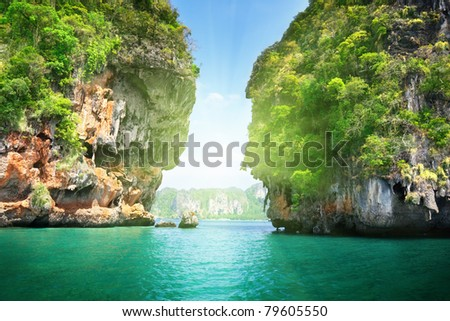 rocks on Railay beach in Krabi Thailand - stock photo