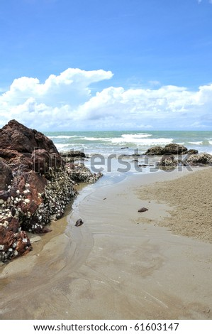 Rocks on the beach in Rayong, Thailand - stock photo