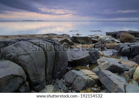 Rocks on the Beach of White Sea  - stock photo