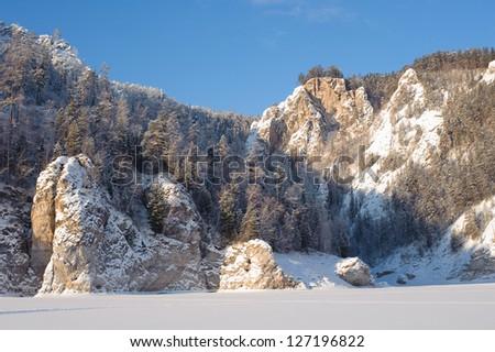 Rocks on the River Biryusa - stock photo