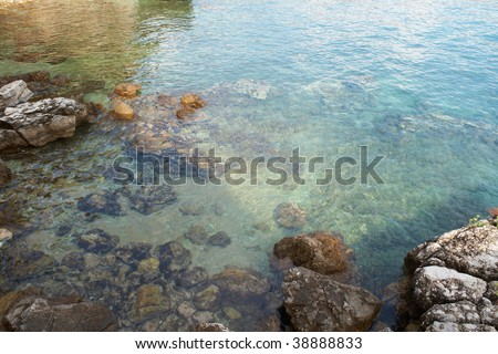 Rocks under the waves.Cool background with lots of space for text. - stock photo