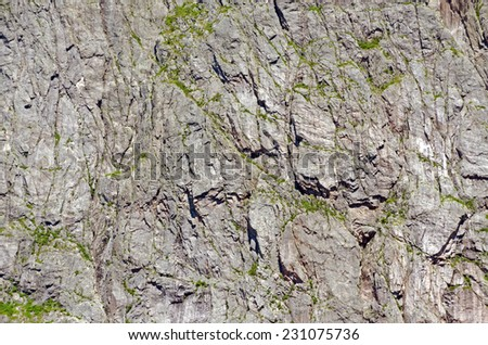 Rocks wall in Western Brook Pond, Newfoundland - stock photo