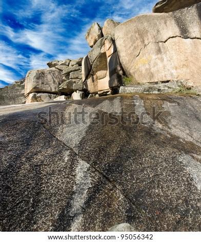 Rockscape granite mountain - stock photo