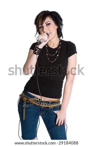 Rockstar Girl Singing - stock photo
