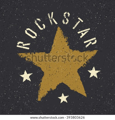 Rockstar. Grunge star with lettering. Tee print design template. Raster version. - stock photo