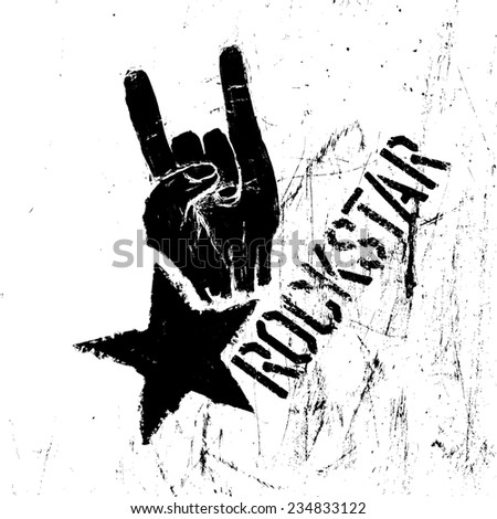 Rockstar symbol with sign of the horns gesture. Raster version - stock photo