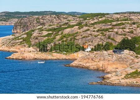 Rocky archipelago on the Swedish west coast - stock photo