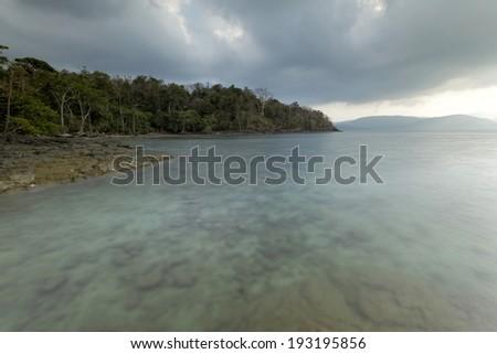 Rocky beach at Chidia Tapu, Andaman and Nicobar Islands - stock photo